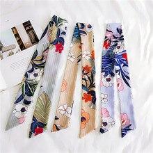 90cm*5cm Scarf Flower Stripe Head Neck Women Narrow Long Tie Bag Handle Ribbon Female Skinny Scarves Hair Band