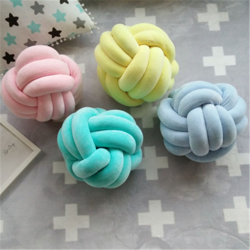 Creative Nordic Knot Ball Cushion Pillow font b Baby b font Calm Sleep Dolls Stuffed Toys