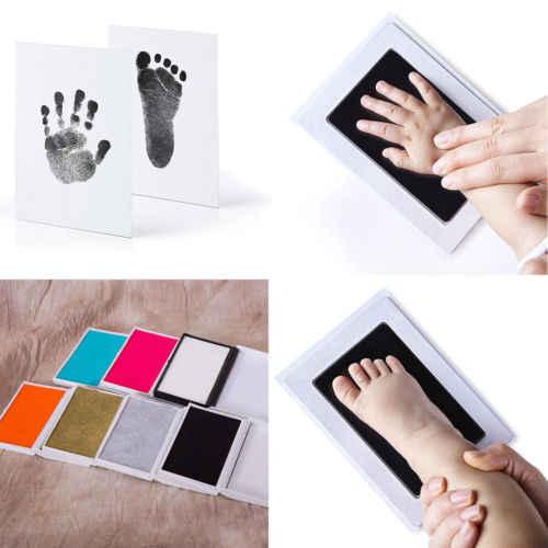 เด็กแผ่นชุดปลอดสารพิษ Handprint รอยเท้าฟรีแสตมป์สำหรับทารกเด็กทารกลายนิ้วมือรอยเท้าล้างหมึก Pad