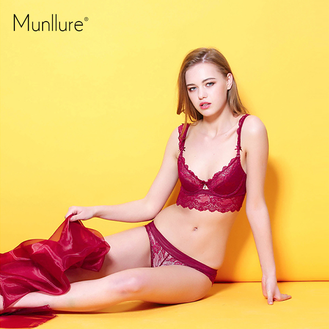 118731624b4 Fashion female sexy bra set lace young girl underwear adjustable thin cup  the eurygaster furu small