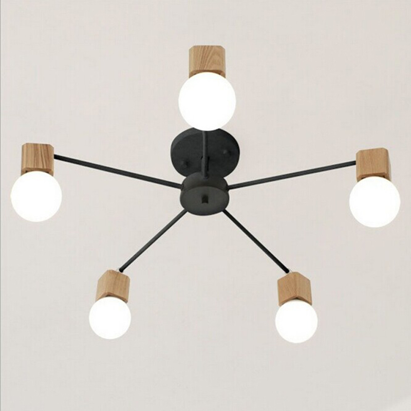 AC100-240V wood LED E27 ceiling lights living room bedroom children's room ceiling lamp modern lustres de sala plafon rh loft wood e27 led bulb ceiling lights fixture home deco living room iron ceiling lamp modern lustres de sala plafon