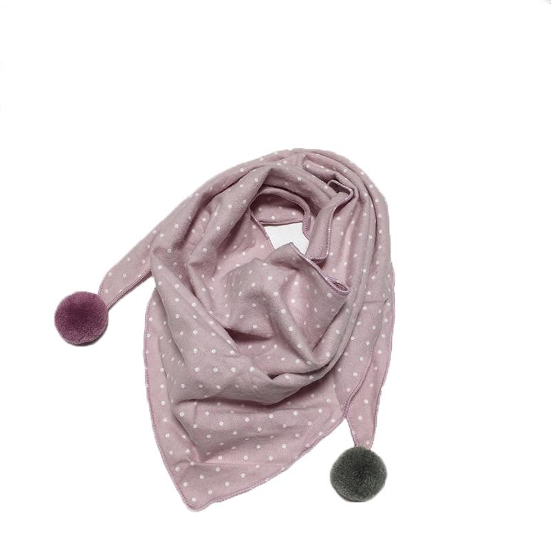 Весенние клетчатые треугольные шарфы в горошек для маленьких девочек; осенне-зимняя шаль для мальчиков и девочек; Детские хлопковые воротники; теплый детский шейный платок - Цвет: pi pink dot