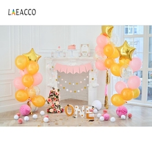 Laeacco Baby 1st Birthday Balloon Flower Fireplace Interior Photo Backgrounds Customized Photographic Backdrops For Studio