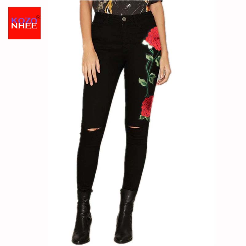 American Apparel BF Women Jeans with high waist Floral 3D embroidery High Waist Ladies Straight Denim Pants Jeans Bottoms american apparel women high waist jeans
