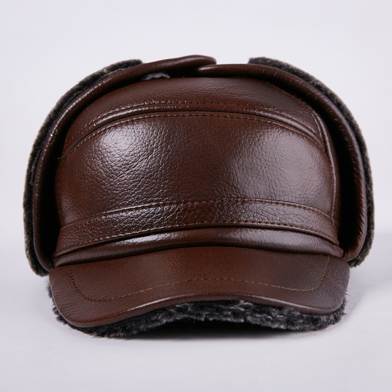 2017 New Men Earmuffs Genuine Leather Hat Male Faux Fur Baseball Caps Thicken Warmer  Flat Hats Real Cowhide Gorras Cap B-7194 winter fashion men genuine leather peaked cap ceiling earmuffs dome hat male keep warm adjustable real leather hats for parents