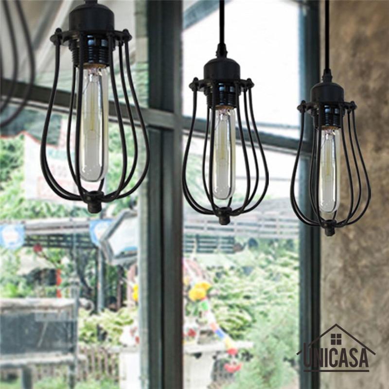Industrail Metal Pendant Light Vintage Black Cage Iron Lighting Fixture Hotel Home Modern LED Antique Mini Pendant Ceiling Lamp  цены