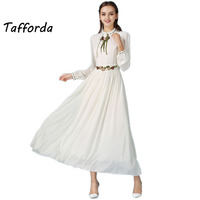 2017 New Spring Summer Long Sleeved Embroidered Dress Big Swing Retro Elegant Dress for Lady White Fairy Pleated Long Dress