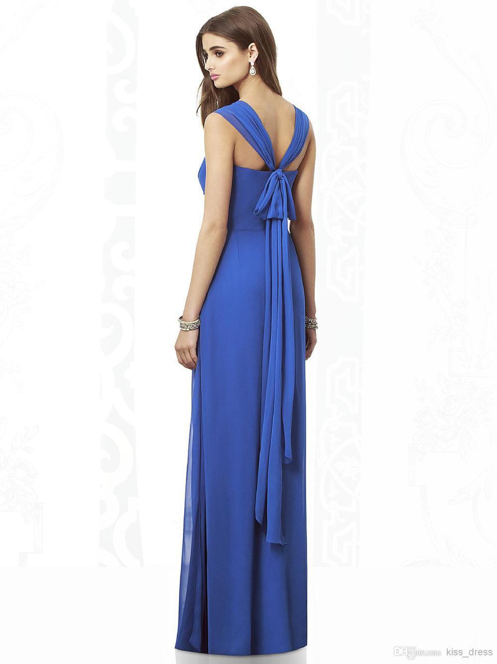 2014 Royal Blue Bridesmaid Dresses Sweetheart Sleeveless Sheath Ruffles Empire Chiffon Formal Gowns Custom Made High Quality