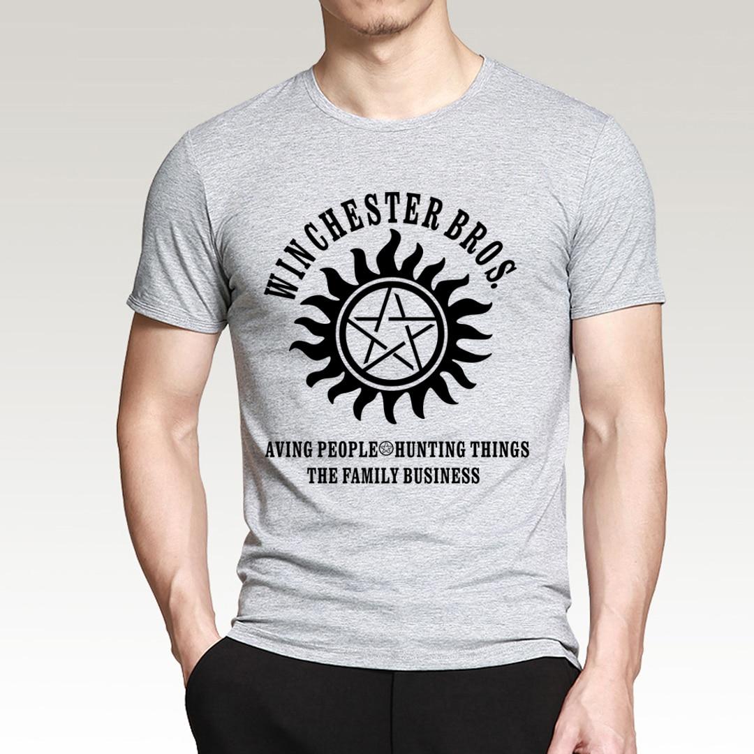 fashion t shirt Supernatural Winchester Bros Saving People Things 2019 new summer men 100% cotton short sleeve shirt Hipster Men
