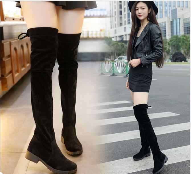 Yeni Düşük Topuklu Sıcak Tutmak Kadın Çizmeler Diz Üzerinde Çizmeler Kadın Streç Kumaş Diz Yüksek Çizmeler Kadın Sonbahar Kadın ayakkabı Botas