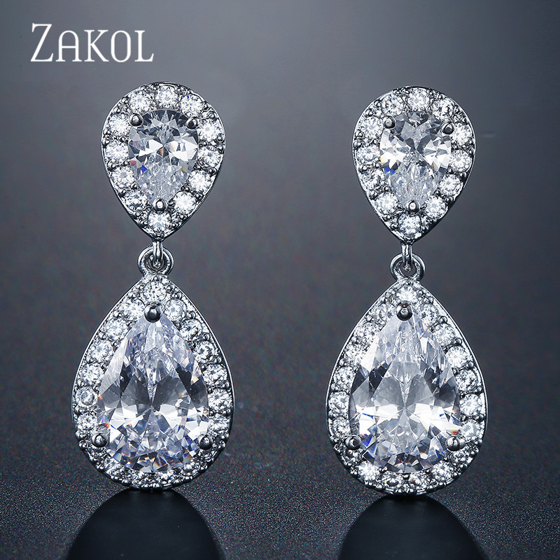 ZAKOL Nickle Free Fashion Classic Water Drop Crystal Zirconia Drop Earrings Bridal Wedding Jewelry for Women Wholesale FSEP091
