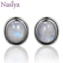 Oval Natural 8x10MM Moonstone 925 Sterling Silver Stud For Women Vintage Jewelry Engagement Party Anniversary Gift Wholesale top brand vintage ring for women 925 sterling silver jewelry high quality moonstone party anniversary wedding engagement gift