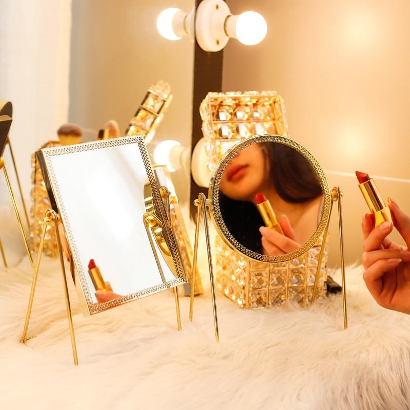 New Noble Northern Europe Ins Golden Iron Metal Glass Square Round Desktop Mirror Dresser Vanity Princess Hair Cosmetics Make Up