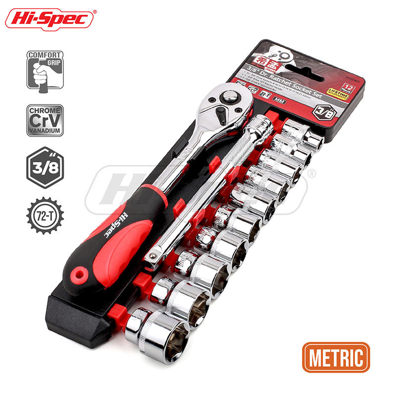Hi-Spec 12pc 3/8 72T Socket Wrench CR-V Torque Wrench Spanner Set 8-22mm Socket Set With Ratchet Wrench Set Auto Repair Tools