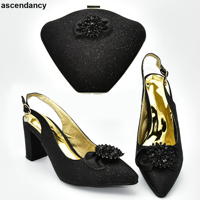 Black Color Italian Ladies Shoes and Bags To Match Set Shoes and Bag Set African Sets 2019 Nigerian Women Wedding Shoes and Bag