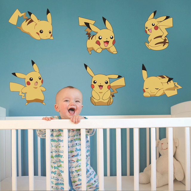 Cartoon Amination Pokemon Poster Stickers Pokemon Go Pikachu Wall Stickers  For Kids Bedroom Mural Wall Decals Home Decor