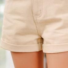 High Waist Roll Up Hem Denim Short Pants RK