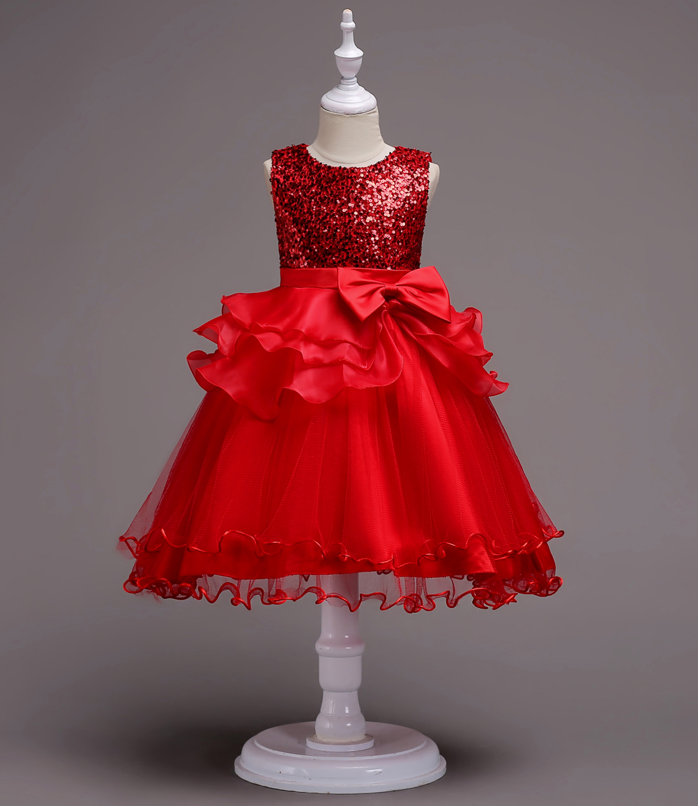 New Princess Dress sequins BOW LACE DRESS birthday party stage performance wedding hosting 3 13T spring and summer in Dresses from Mother Kids
