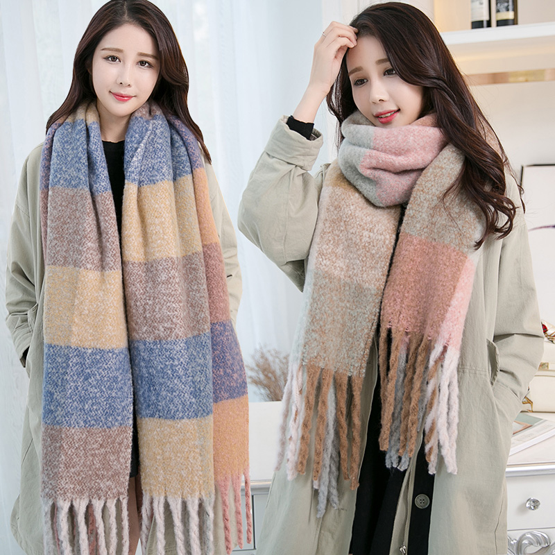 Thick Winter   Scarf   For Women Warm Tassels Plaid Solid Shawls   Wraps   Blanket Ladies Long   Scarves   Faux Cashmere Luxury Designer