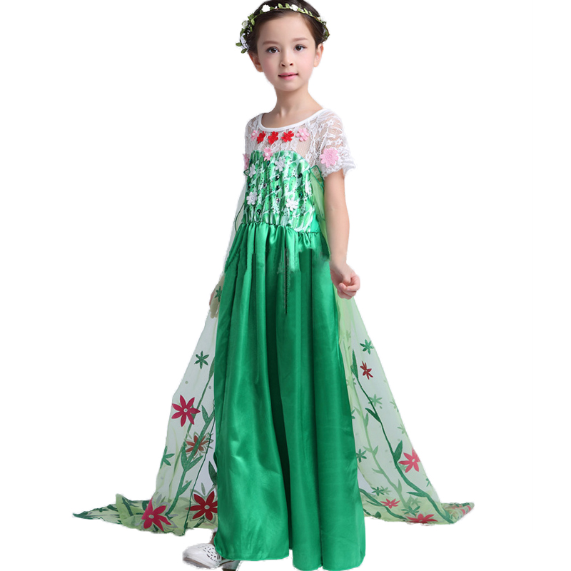 2016 summer green elsa costumes Girls Cosplay party font b Dresses b font Princess anna font