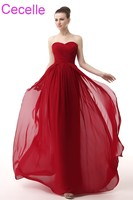Dark Red Long Bridesmaid Dresses 2018 Sweetheart A Line Ruched Chiffon Beach Wedding Party Dress Custom