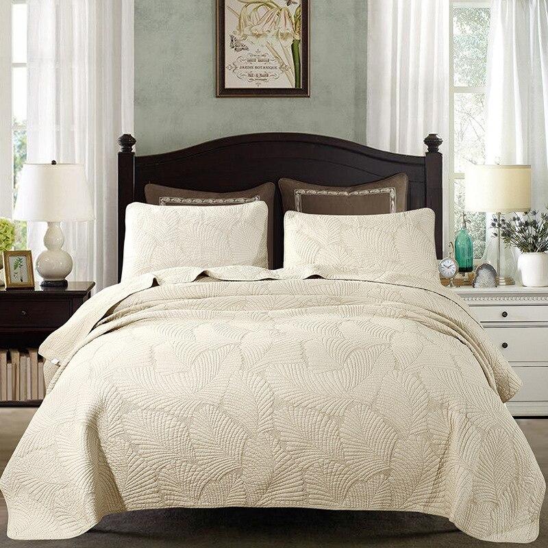 FAMVOTAR 100 Cotton Bedspread Quilt Sets Palm Leaf Patchwork Coverlet Set Beige White Vintage Palm Embroidery