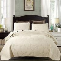 FAMVOTAR 100% Cotton Bedspread Quilt Sets Palm Leaf Patchwork Coverlet Set Beige/White Vintage Palm Embroidery Comforter Set