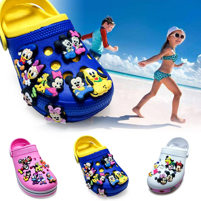 1pcs Mickey Hot Cartoon PVC Shoe Charms Minnie Shoes Accessories Buckles Fit Bands Bracelets Croc Charms JIBZ Decor Kids Gift