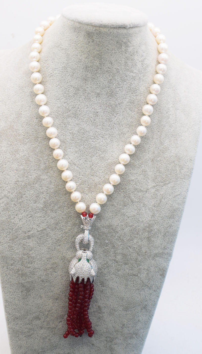 все цены на freshwater pearl white round leopard clasp red stone beads necklace 18