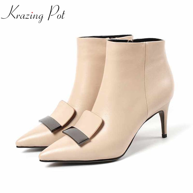 Krazing Pot genuine leather bigger size stiletto high heels pointed toe mature superstar wedding nightclub sexy ankle boots L61
