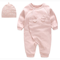 New   Baby     Rompers   2018   Baby   Girls Boys Lovely Leisure Newborn Jumpsuits + Cartoon Print Hat Suit