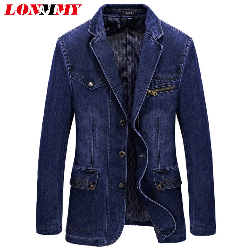 LONMMY Denim Cotton Jeans blazers Suits for men jacket Cowboy jaqueta  masculino a106373ce508