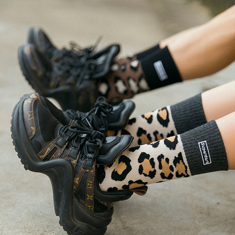 Leopard Print Socks Women Fall / Winter Street Fashion Lovers  Personality Pile Socks Korea Thick Warm Socks Tide