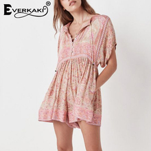 78a79dbdac Everkaki Gypsy Boho Floral Printed Bohemian Playsuits For Women Pink Rompers