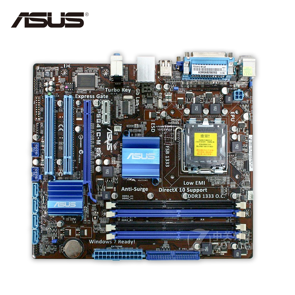 Asus P5G41C-M LX Desktop Motherboard G41 Socket LGA 775 DDR2 & DDR3 u-ATX On Sale Second-hand High Quality asus maximus vii ranger desktop motherboard m7r z97 socket lga 1150 i7 i5 i3 ddr3 32g sata3 atx second hand high quality