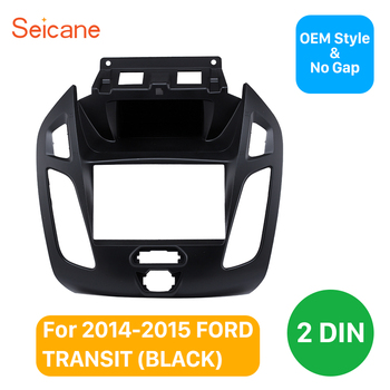 Seicane Radio Panel Dashboard Trim Installation Mount Kit 2 Din Car Audio Frame Fascia for Ford Transit 173*98/178*100/178*102mm