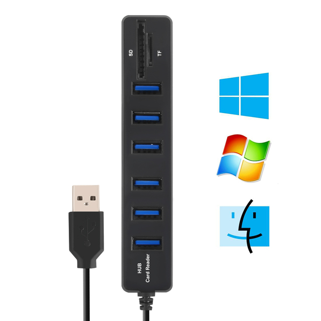 USB Hub 3.0 Multi USB 3.0 Hub USB Splitter High Speed 3 / 6 Ports Hab TF SD Card Reader All In One For PC Computer Accessories