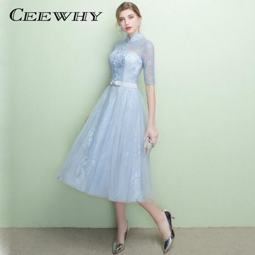 e0b5e6c765a CEEWHY винтажное вечернее платье с высоким воротником и коротким рукавом