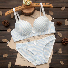 Puberty Young Girl Cotton Striped Bra Set Teenage Underwear Thin Cup Push Up Wireless Girl Bra+Panties Underwear Set For Student