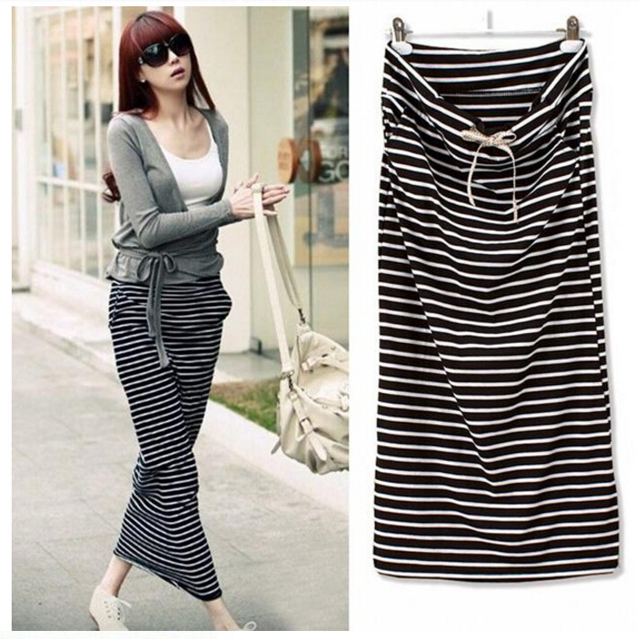 Fashion Summer Skirts Womens Long Skirt Female Black and White ...