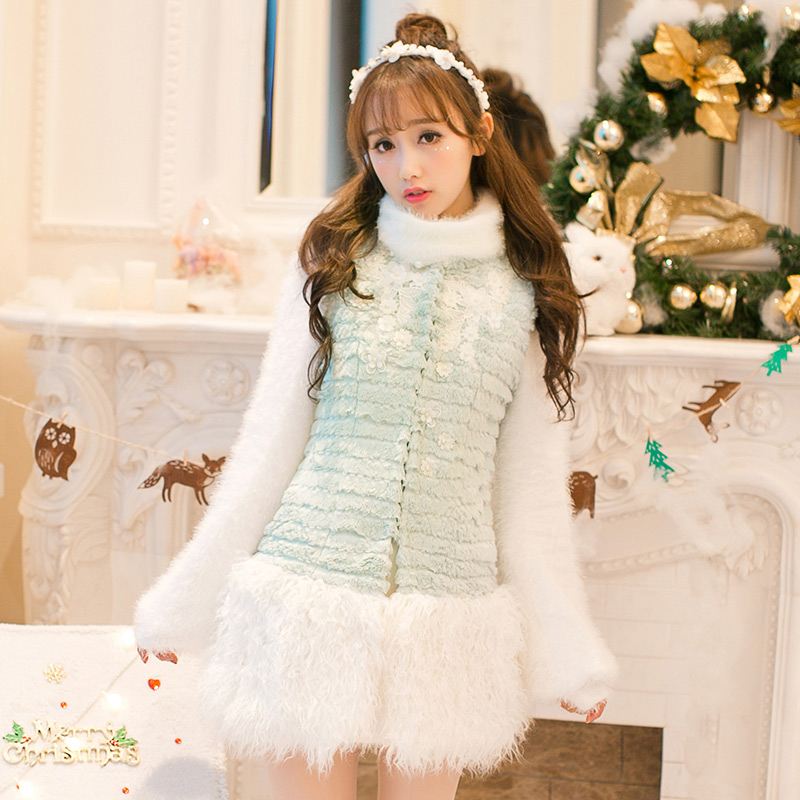 Princess sweet lolita white dress Candy rain Japanese design Sweet Vest Jacket T-shirts all-match fur vest C16CD6243