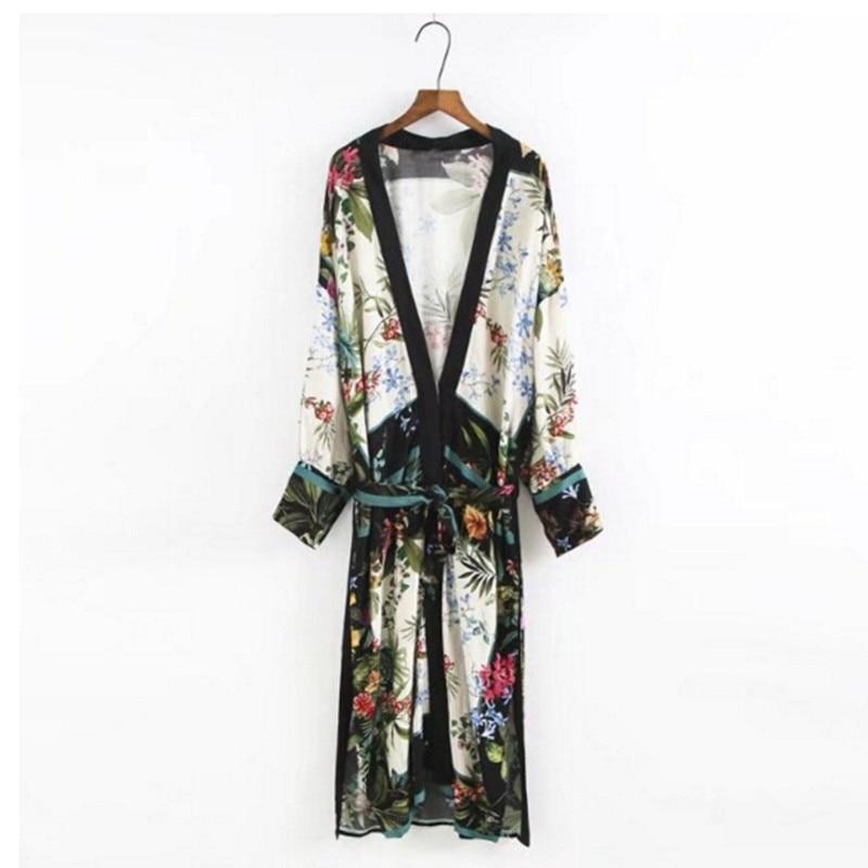 Nice 2017 Leaves Flower Print With Sashes Kimono Shirt Retro New Bandage Mid Long Cardigan Blouse Tops Blusas Chemise Femme Blusa Women's Clothing