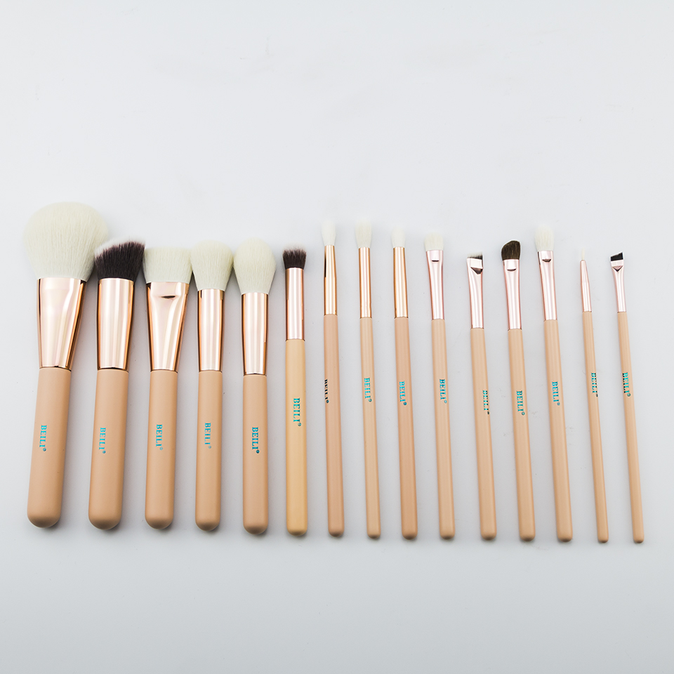 BEILI 15Pcs Pink Rose Gold Makeup brushes Natural goat Pony Hair Foundation blush eye Blending Contour Powder Professional set 1