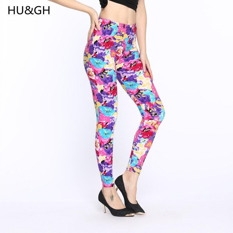 HU&GH Women Autumn Flower Print Leggings Pants Female Sexy High Waist Pencil Leggings Slim Elastic Workout Leggins Trousers