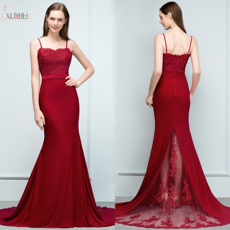 Sexy Spaghetti Strap 2019 Burgundy Satin Long Mermaid   Bridesmaid     Dresses   Beading Backless Wedding Party Guest   Dress