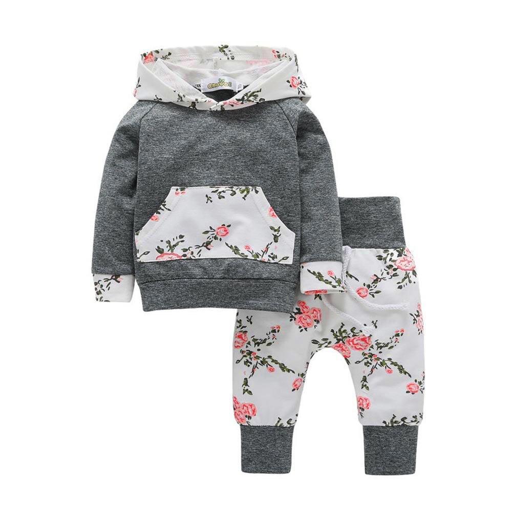 2PCS Children Baby Warm Kids Girl Floral Hoodie Tops Long Pants Clothes Suits