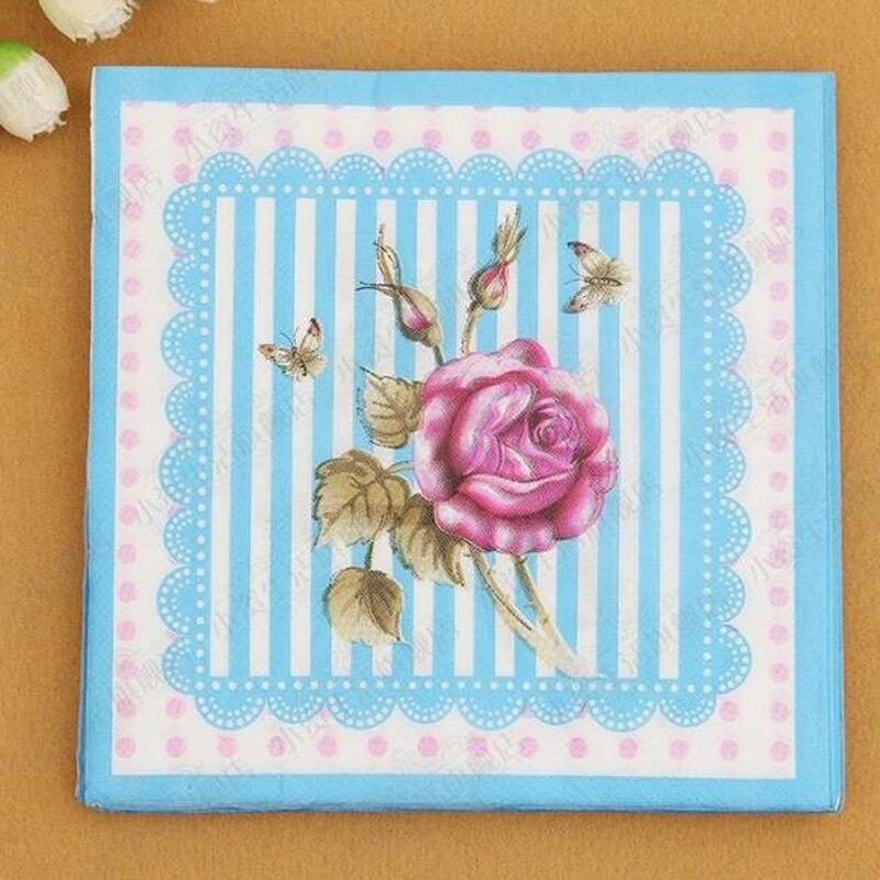 33 cm * 33 cm de la raya Azul Rosa Festivo y Fiesta Tejido Servilletas Servillet