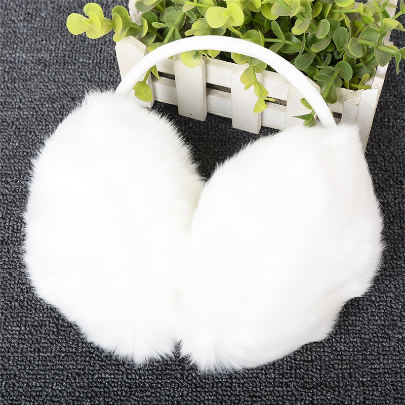 Imixlot Trendy Warm Fur Earmuffs Unisex Girls Winter Ear Warmers Earflap Outdoor Headband Round Earmuffs White Color