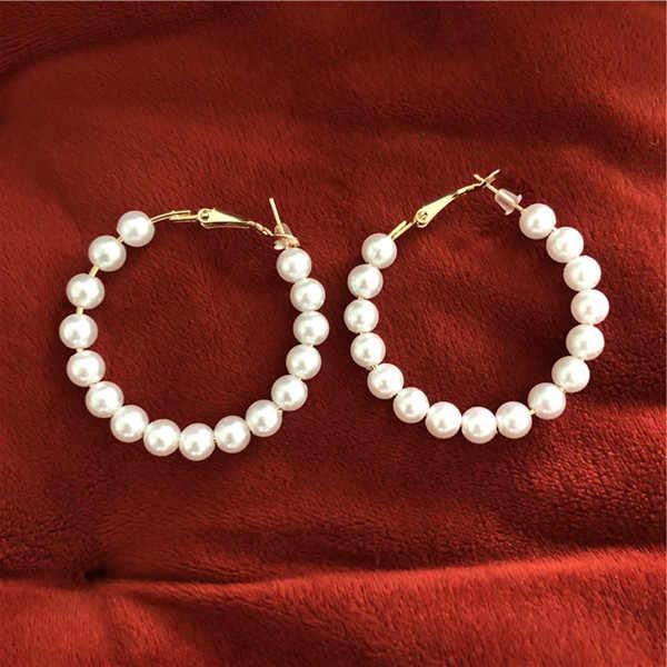 Trendy Large Hoop Earrings 6mm pearl Smooth Circle Earrings Basketball Brincos Celebrity Brand Loop Earrings for Women Jewelry