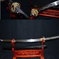 FULL TAND HANDMADE JAPANESE SAMURAI SWORD WAKIZASHI DRAGON TSUBA 1095 HIGH CARBON CLAY TEMPERED BLADE BATTLE READY